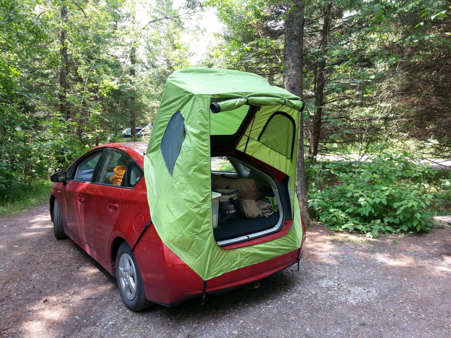 Habitents prius tent for hatchback car camping home for Housse tyvek camping car